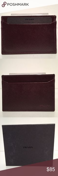 Prada Saffiano Burgundy Leather Cardholders Brand New In Case. Made In Italy Prada Accessories Key & Card Holders