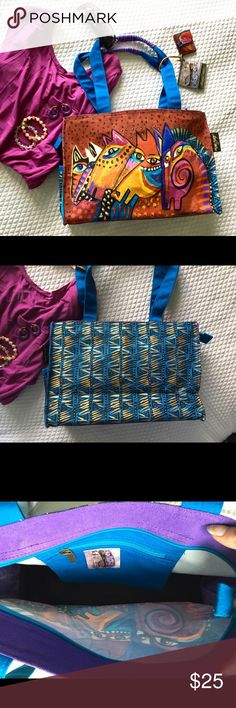 Sale! NWT Laurel Burch Purse Brand new oversize tote from Laurel Burch in cotton canvas.   Colorful and quite the statement piece, this is a versatile purse that could even double as a beach bag.  Retails for $45.[Dress, earrings and bracelets also for sale] Bags Shoulder Bags