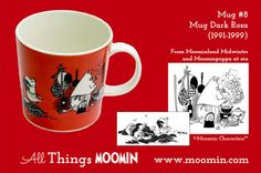 Moomin mug # 8 by Arabia Mug - Dark Rosa Produced: Illustrated by Tove Jansson / Camilla Moberg and manufactured by Arabia. The original illustrations can be found in Moominland Midwinter and in Moominpappa at sea. Moomin Mugs, Tove Jansson, The Originals, Tableware, History, Dark, Camilla, Universe, Illustrations