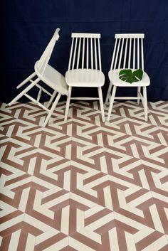 Les carreaux graphiques : Carreaux Kimono B - chestnut/cream by contemporary tiles via Goodmoods