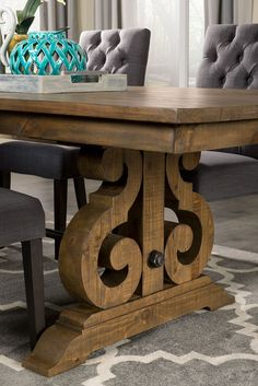 Rediscover the beauty of woodcraft with this Keswick dining table. Looking equally at home in a formal dining room or a farmhouse, this beautiful product of French Country Dining Room, Farmhouse Dining Room Table, Dining Room Furniture, Rustic Wood Dining Table, Dining Set, Room Chairs, Furniture Sets, Dining Room Design, Solid Pine