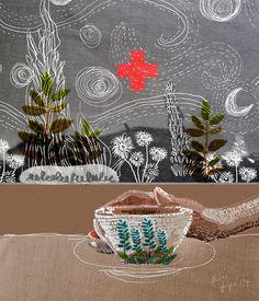 Mixed media with Embroidery. Volume Magazine illustration via doknommeaw (Thailand)