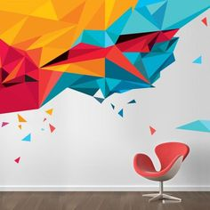 Beautiful abstract office mural to create a pleasant work atmosphere by using street art. Discover more mural and art projects on the Treepack website. Discover more mural and art projects on the Treepack website. Office Wall Design, Office Mural, Office Wall Art, Office Walls, Office Decor, Office Wall Graphics, Office Ideas, Wall Sticker Design, Vinyl Wall Decals