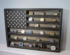 x Rustic Distressed Military Challenge Coin Display Case Holder US Flag Retirement Gift Army Navy Air Force Marines Coast Guard Military Challenge Coin Display Rack Holder by AllyBoosCreations Source by Military Retirement, Retirement Gifts, Retirement Ideas, Challenge Coin Display Case, Challenge Coin Holder, Coin Holder Military, Military Challenge Coins, Army Gifts, American Flag Wood