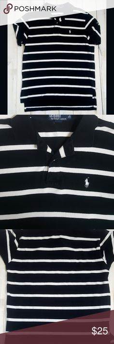 "Polo By Ralph Lauren Men's Large Striped Shirt Condition: Shirt is in great, gently-used condition, with only minimal signs of normal wash and wear.  Size: Large  Chest: 24""  Sleeve: Short Sleeves  Length: 28"" Polo by Ralph Lauren Shirts Polos"