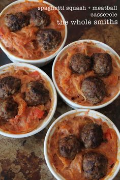 Spaghetti Squash + Meatball Casserole from the Whole Smiths. Gluten free, paleo friendly and Whole30 compliant. Great for families and easy to make. Pin for later!