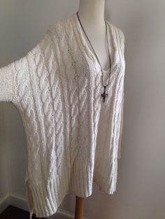 FREE PEOPLE $240 Oversized Cable Cotton Summer Asymmetric Sweater OS S NWOT  | eBay