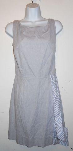 Zachary's Smile White Label Dress blue microstripe ruffle sz L #ZacharysSmile…
