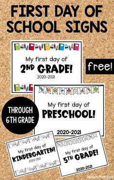 FREE printable first day of school signs to use at home or in the classroom to celebrate the new 2020-2021 school year from preschool - 6th grade! First Day School Sign, First Day Of School Activities, Kindergarten First Day, School Signs, Last Day Of School, Preschool Kindergarten, School Days, School Stuff, Preschool At Home