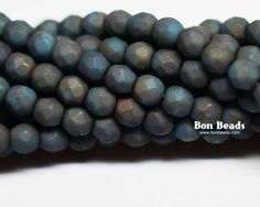 4mm Matted Green Turquoise Moondust Round Fire Polished @ www.bonbeads.com