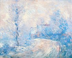 The entrance to Giverny under the snow, Claude Monet. This is so gorgeous