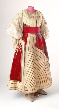 El-keswa el-kbira (Grand Costume, Marriage Dress), Moroccan, late 19th cent., skirt: silk velvet with gold metallic ribbon and passementerie;  lining: polished cotton; bodice: silk velvet with gilt metallic  embroidery, leather; sleeves: transparent silk chiffon with gold brocade, skirt: 300.1 x 99.9cm, waistcoat: 59.9 x 62.9cm, The Jewish Museum, New York