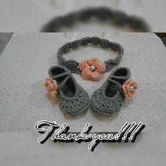 Sandra crochet headband and shoes