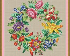 Berlin Woolwork Antique Multi-floral Wreath 1 Counted Cross Stitch PDF Pattern