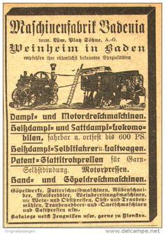 Original-Werbung/ Anzeige 1919 : MASCHINENFABRIK BADENIA / WEINHEIM - ca. 45 x 65 mm