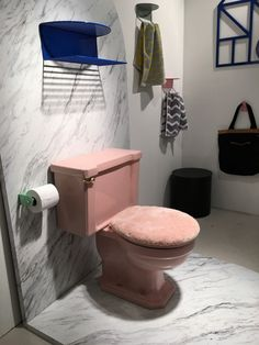 yes to pink toilet; no to shearling lid cover.