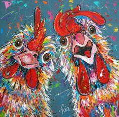 """Schilderij """" Crazy Chickens """" 100 x 100 (VERKOCHT)"""