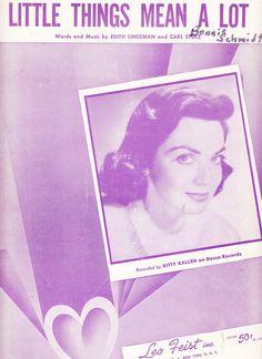 Little Things Mean a Lot 1954 Sheet Music Kitty Kallen by Lindeman & Stutz