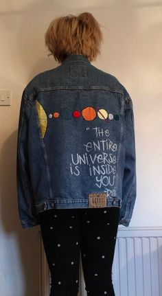 Button Bombed Denim Jacket with Solar System Detailing (Inspired by Dizzee Kipling from The Get Down) by ButtonBombingDenim on Etsy https://www.etsy.com/listing/524823467/button-bombed-denim-jacket-with-solar
