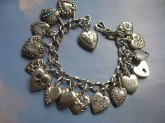 Antique Sterling Puffy Heart Charm Bracelet by AndOnToWillow