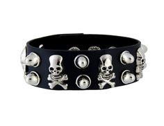 Stylish Leather Rivet Chain Bracelet (Black)