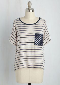 Not What It Themes Top - Mid-length, Knit, Woven, Mixed Media, Stripes, Casual, Americana, Short Sleeves, Summer, Better, Scoop, Tan, Blue, Pockets