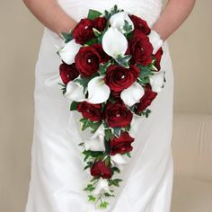 Artificial Silk Wedding Flowers - A Shower Bouquet of Burgundy Roses and White Calla Lilies