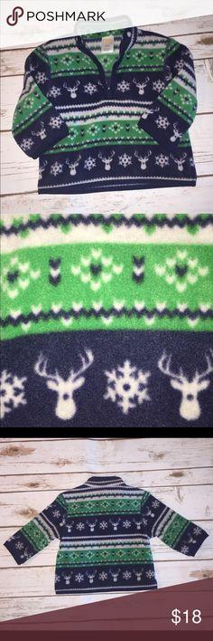 Fleece 1/2 Zip Navy Green and Grey winter 1/2 zip. 100% polyester. OshKosh B'gosh Shirts & Tops Sweatshirts & Hoodies