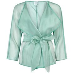 Womens Evening Jackets Armani Collezioni Turquoise Belted Silk Organza... (16 665 UAH) ❤ liked on Polyvore featuring outerwear, jackets, belted jacket, armani collezioni jacket, special occasion jackets, green jacket and turquoise jacket