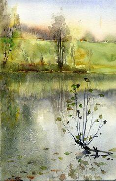 Watercolor Water, Watercolor Trees, Watercolor Sketch, Watercolor Landscape, Abstract Landscape, Landscape Paintings, Watercolor Paintings, Watercolors, 3d Art Drawing