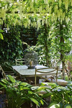 A small backyard garden relaxing outdoor dining room under a pergola Small Garden Design, Small Space Gardening, Garden Spaces, Very Small Garden Ideas, Small City Garden, Plants For Small Gardens, Small Garden Inspiration, Urban Garden Design, Small Courtyard Gardens