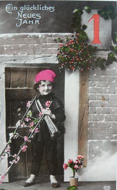 Neujahrsgruss. That is a young chimney sweep!