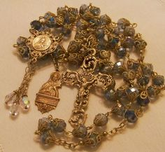 French Rosary ~ St Therese ~ 8mm Pale Blue Crystal ~ Antique Bronze Design