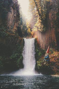 Fantasy Gnome fishing in peace.  #photoshop#photomanipulation#digitalart#fantasy#fantasywallpaper#dwarf#gnome# wallpaper#nature#toketeefalls#waterfall