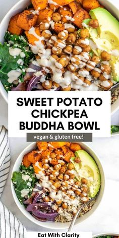 This vegan sweet potato chickpea buddha bowl is loaded with fresh vegetables, quinoa, roasted sweet potato and creamy lemon tahini dressing that's perfect for all of your buddha bowl recipes! #buddhabowl Veggie Recipes, New Recipes, Whole Food Recipes, Vegetarian Recipes, Family Vegetarian Meals, Vegetarian Main Dishes, Eat To Live Diet, Lemon Tahini Dressing, Vegan Lunches