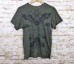 4b4e77d6bb81d Junker Designs Green Army Military Graphic Bleached Distressed Tee Sz M  Unisex