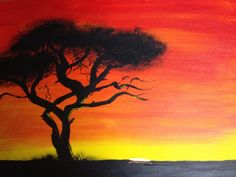 African Sunset - I painted this tonight. It's inspired by my drum teacher and a few others.