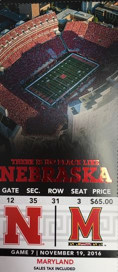 TWO (2) seats 3&4 - Great seats - great neighbors - Easy in and out of the stadium- trusted seller - will ship PROMPTLY !! #great #seats #maryland #cornhuskers #nebraska #tickets