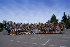 Butler Golden Tornado Marching Band group photo before the 2010 Fort McDowell Fiesta Bowl Parade in Phoenix, Arizona.