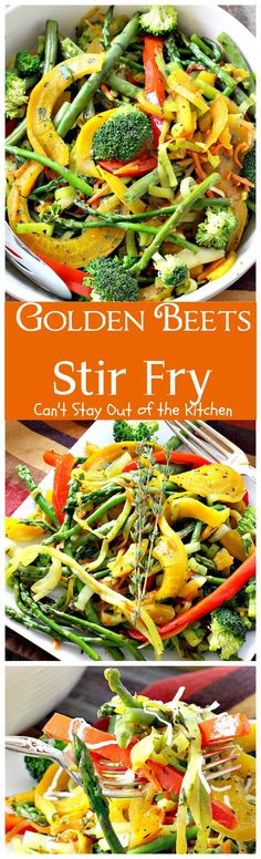 Golden Beets Stir Fry   Can't Stay Out of the Kitchen   phenomenal #MeatlessMonday dish with #beets, #asparagus, #greenbeans, #broccoli & #zucchini. Healthy, low calorie, #glutenfree & #vegan.