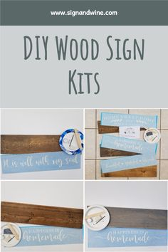 Create your own farmhouse decor at home with these fun and easy wood sign kits! Diy Wood Signs, Custom Wood Signs, Table Centerpieces For Home, Homemade Tables, Make Your Own Sign, Wine Signs, Pallet Designs, Custom Boxes, Diy Kits