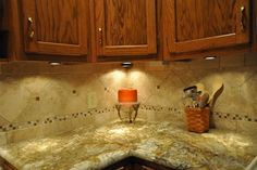 backsplash with st cecilia granite | Granite Countertops and Tile Backsplash Ideas eclectic kitchen