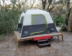 Picture of Expanding Utility Trailer Platform for Camping Lightweight Camping Trailers, Camping Trailer Diy, Trailer Tent, Minivan Camping, Camping Hacks, Trailer Plans, Trailer Build, Camping Ideas, Trailer Storage