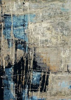 Texture Abstract CEA7095- Hand Knotted Rug- Bold splashes of bright blue and inky black to a neutral coloured background make this rug both bold and easy to place. It has a gorgeous textural quality and its artistic design is sure to rival any modern abstract painting.