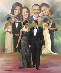 President Barack Obama With Lady Michelle Obama With Daughters Malia Obama & Sasha Obama.
