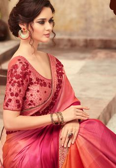 Pink Shade Satin Georgette Party Wear Saree With Border 22014 Trendy Sarees, Stylish Sarees, Indian Bridal Sarees, Indian Beauty Saree, Georgette Saree Party Wear, Georgette Sarees, Sarees For Girls, Saree Trends, Elegant Saree