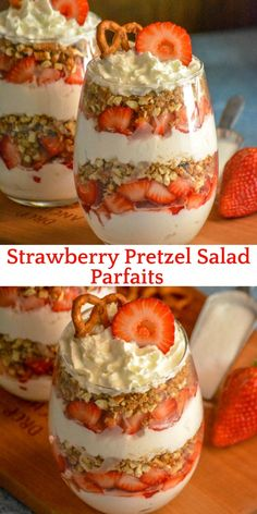 Strawberry Pretzel Salad Parfaits put a creamy new spin on the classic strawberry pretzel salad. Featuring layers of flavor infused freshly whipped cream, buttery cinnamon pretzels, and ripe berries- it's a dessert destined to impress. Strawberry Pretzel Salad, Strawberry Desserts, Summer Desserts, Easy Desserts, Delicious Desserts, Yummy Food, Healthy Desserts, Recipes With Strawberries, Strawberry Triffle
