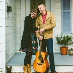 A cozy and quirky winter engagement session in Durham, NC with some cooking, cats, dogs, and guitar playing.