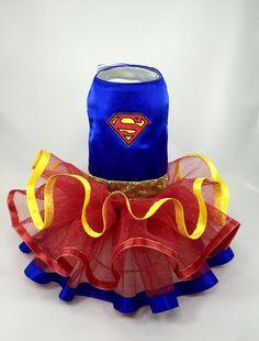 Superman Supergirl Superhero Pet Dog costume blue red yellow Batman Wonder Woman Dog Dress Tutu xxs - xxl and up Pet Dogs, Dog Cat, Sparkly Belts, Batman Wonder Woman, Dog Clothes Patterns, Pet Clothes, Dog Clothing, Dog Costumes, Dog Dresses
