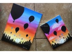 How To Paint A Sunset In Acrylics - Hot Air Balloon Silhouette Painting Lessons, Painting For Kids, Diy Painting, Tole Painting, Easy Paintings, Canvas Paintings, Canvas Art, Balloon Painting, Beginner Painting
